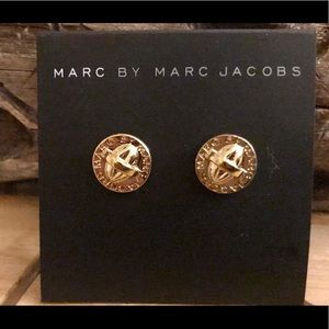 Marc Jacobs Gold Plated Turn Lock Stud Earrings